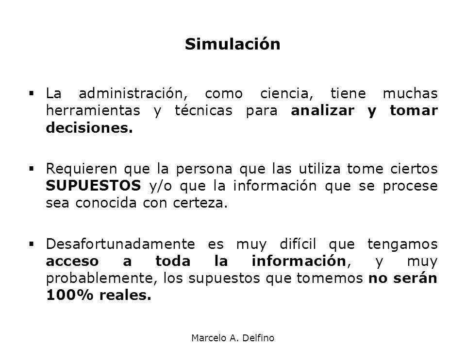 Simulación La administración, como ciencia, tiene muchas herramientas y técnicas para analizar y tomar decisiones.