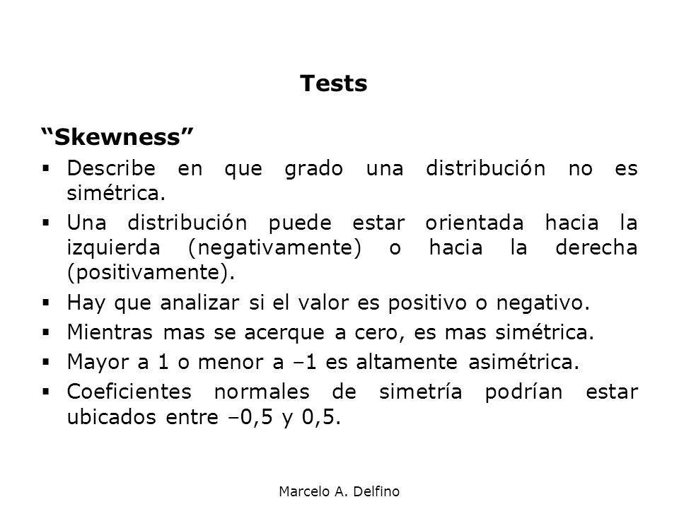 Tests Skewness Describe en que grado una distribución no es simétrica.