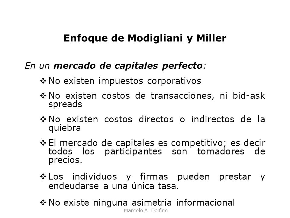 Enfoque de Modigliani y Miller