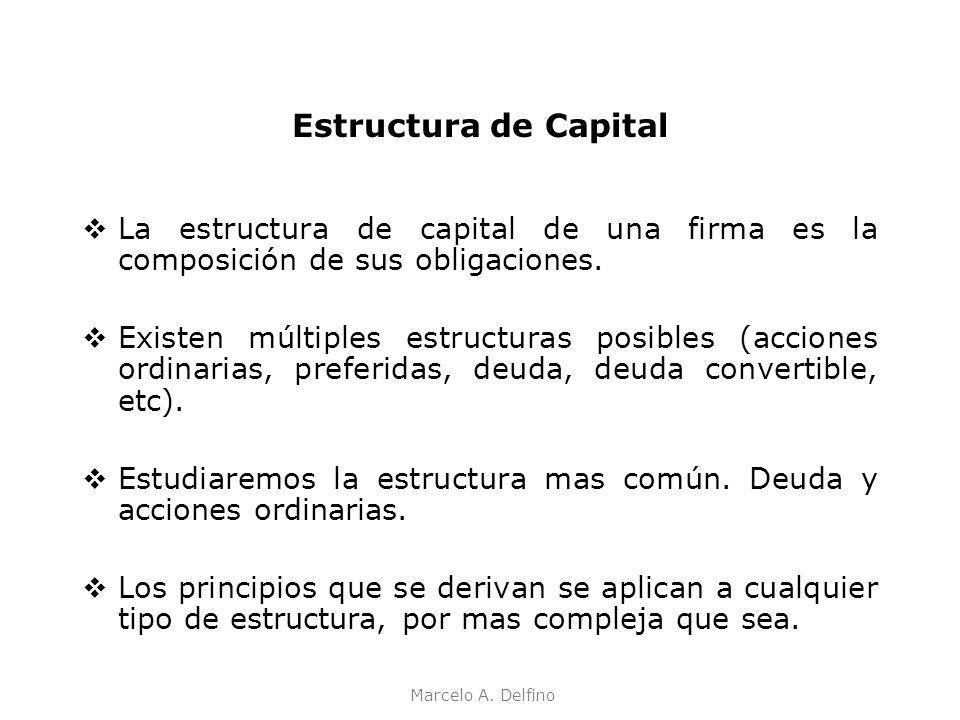 Estructura de Capital La estructura de capital de una firma es la composición de sus obligaciones.