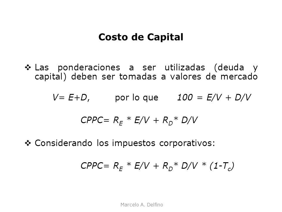 Costo de Capital Las ponderaciones a ser utilizadas (deuda y capital) deben ser tomadas a valores de mercado.