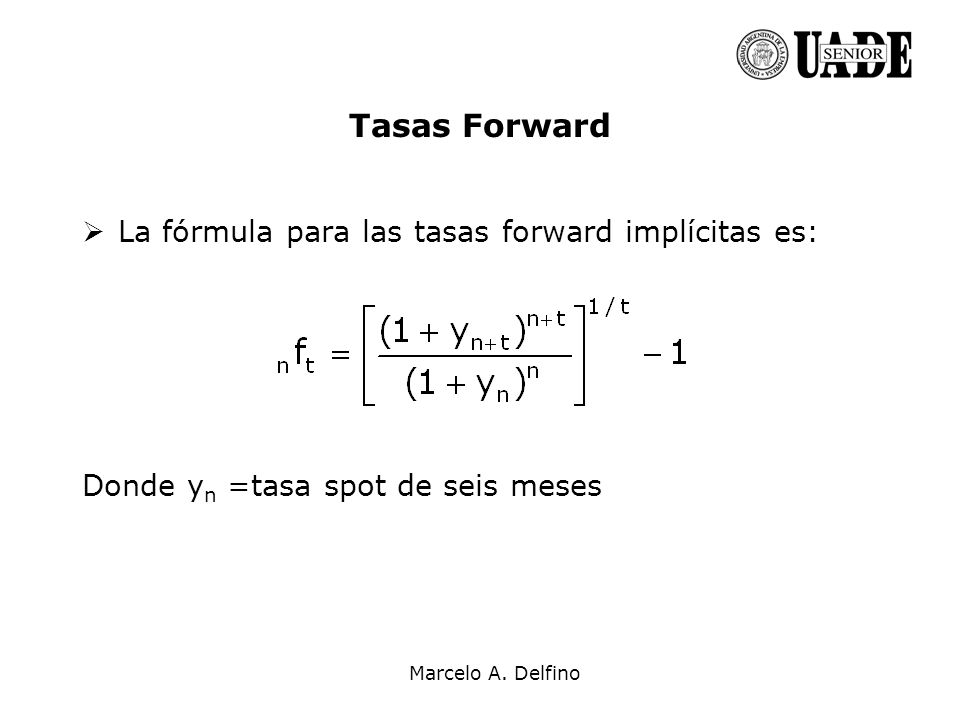 Tasas Forward La fórmula para las tasas forward implícitas es:
