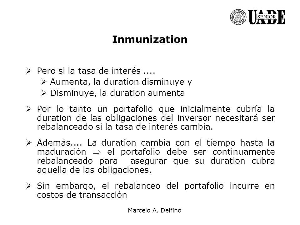 Inmunization Pero si la tasa de interés ....