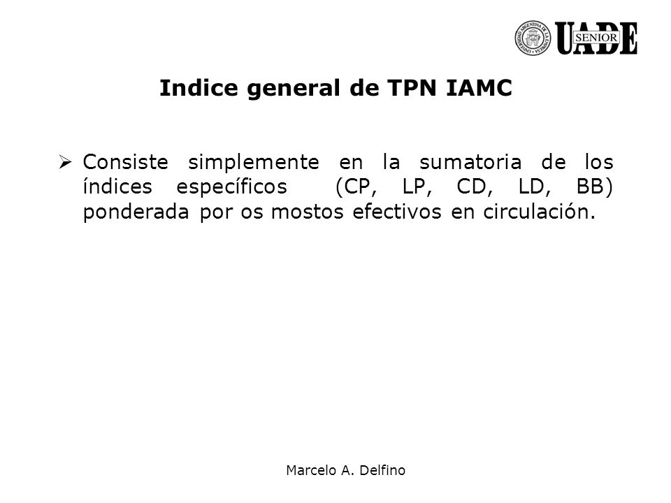 Indice general de TPN IAMC