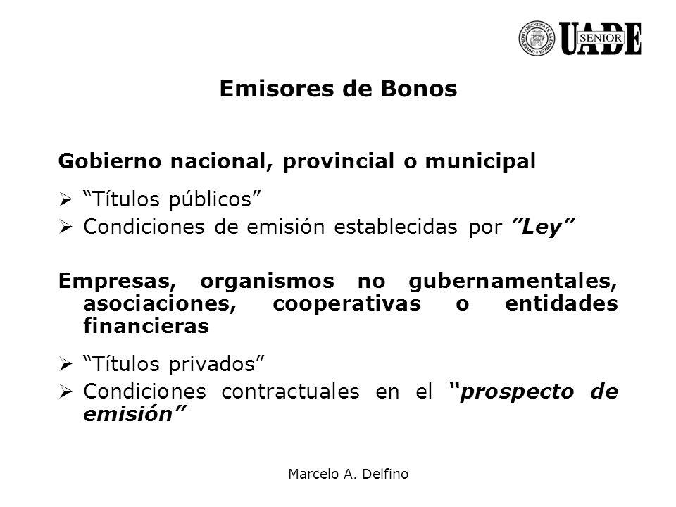 Emisores de Bonos Gobierno nacional, provincial o municipal