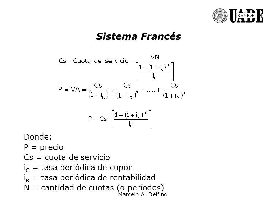 Sistema Francés Donde: P = precio Cs = cuota de servicio
