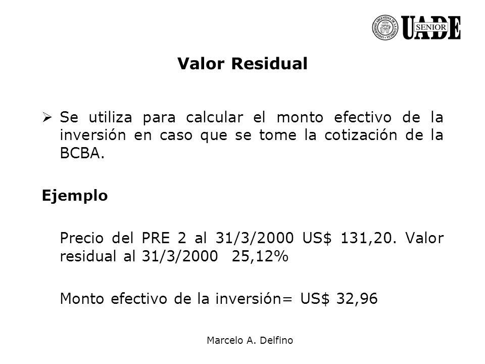 Valor Residual Se utiliza para calcular el monto efectivo de la inversión en caso que se tome la cotización de la BCBA.