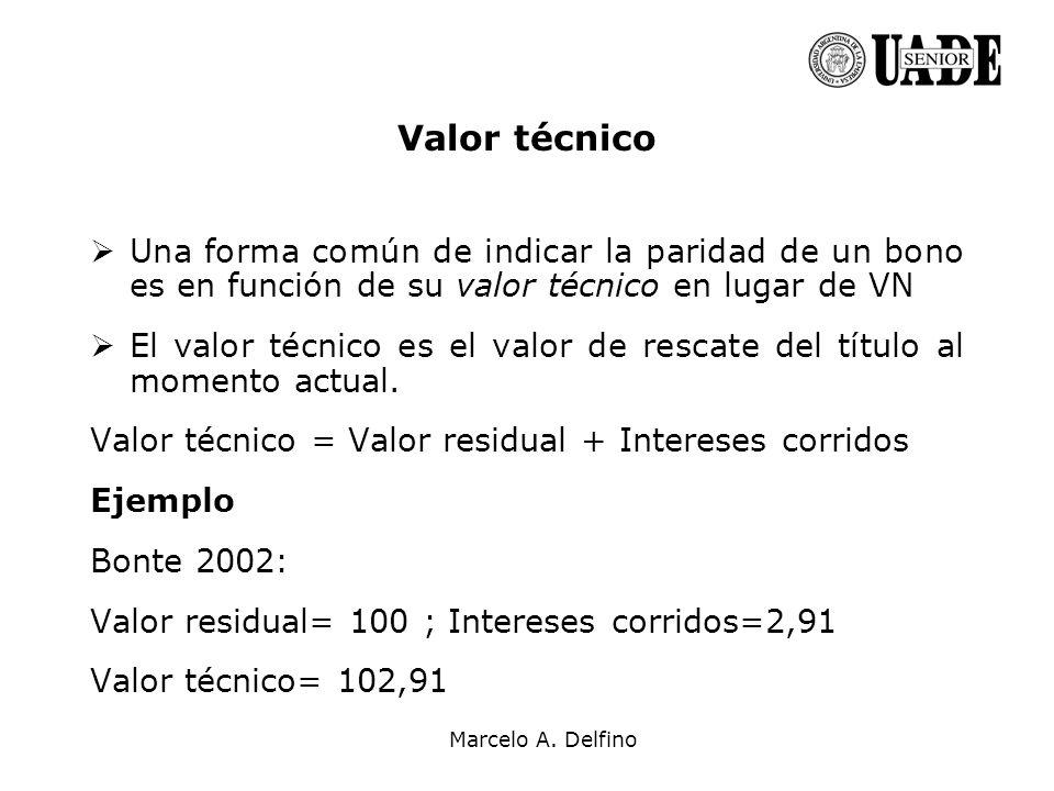 Valor técnico Una forma común de indicar la paridad de un bono es en función de su valor técnico en lugar de VN.