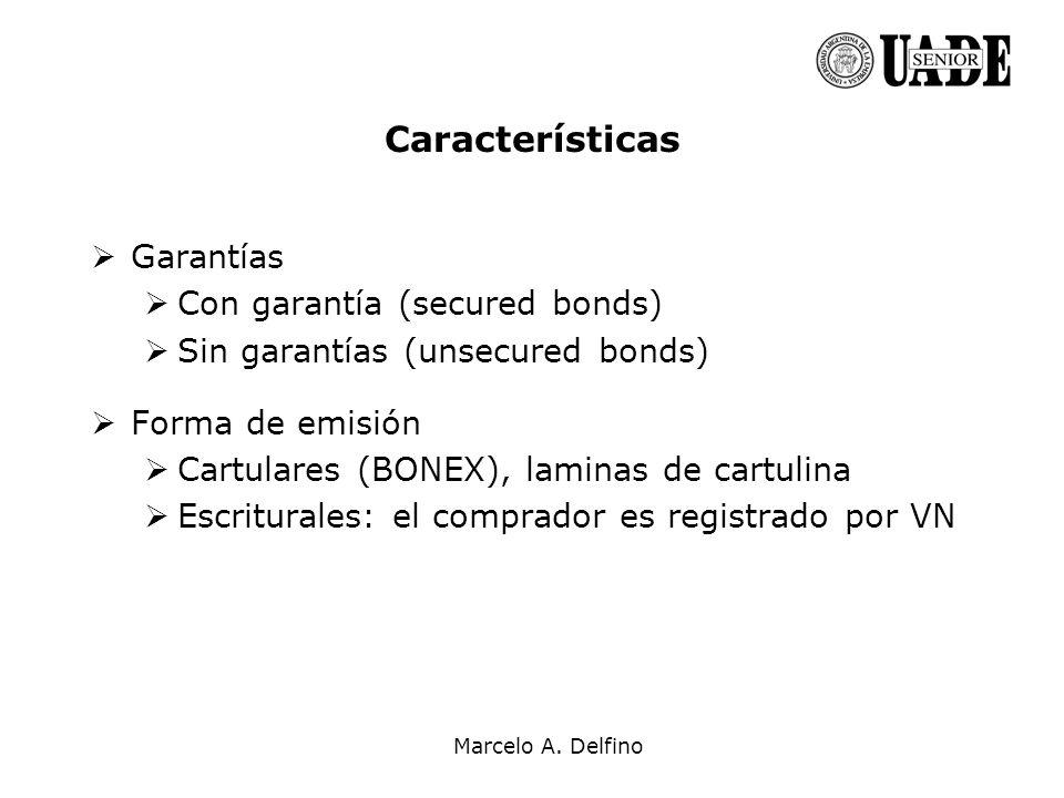 Características Garantías Con garantía (secured bonds)