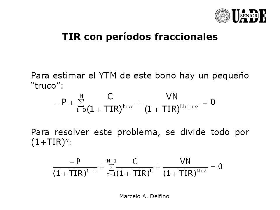 TIR con períodos fraccionales