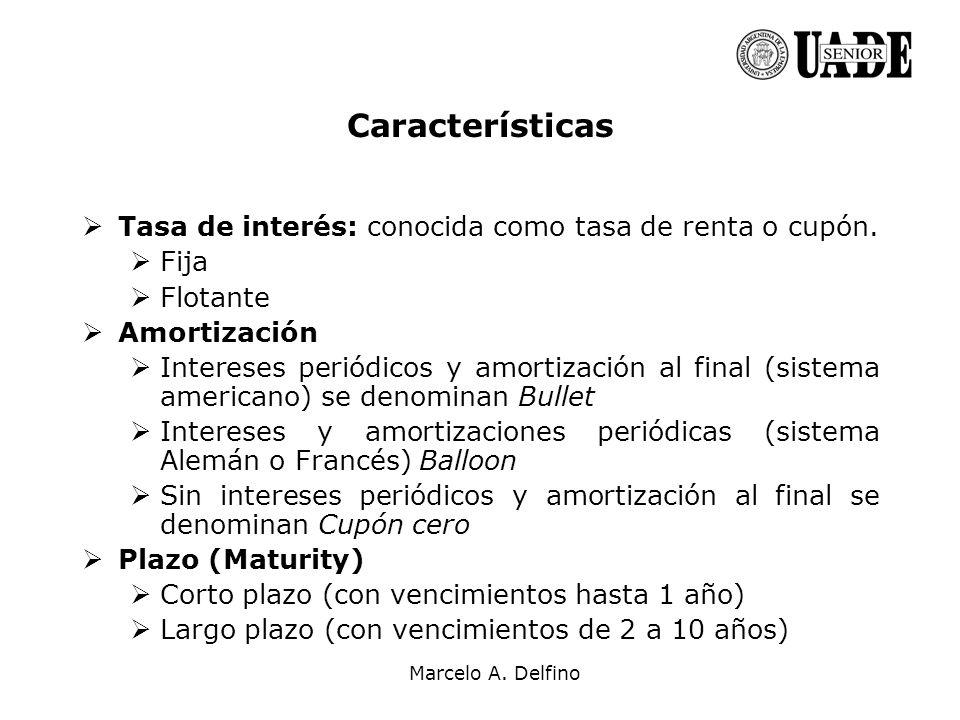 Características Tasa de interés: conocida como tasa de renta o cupón.
