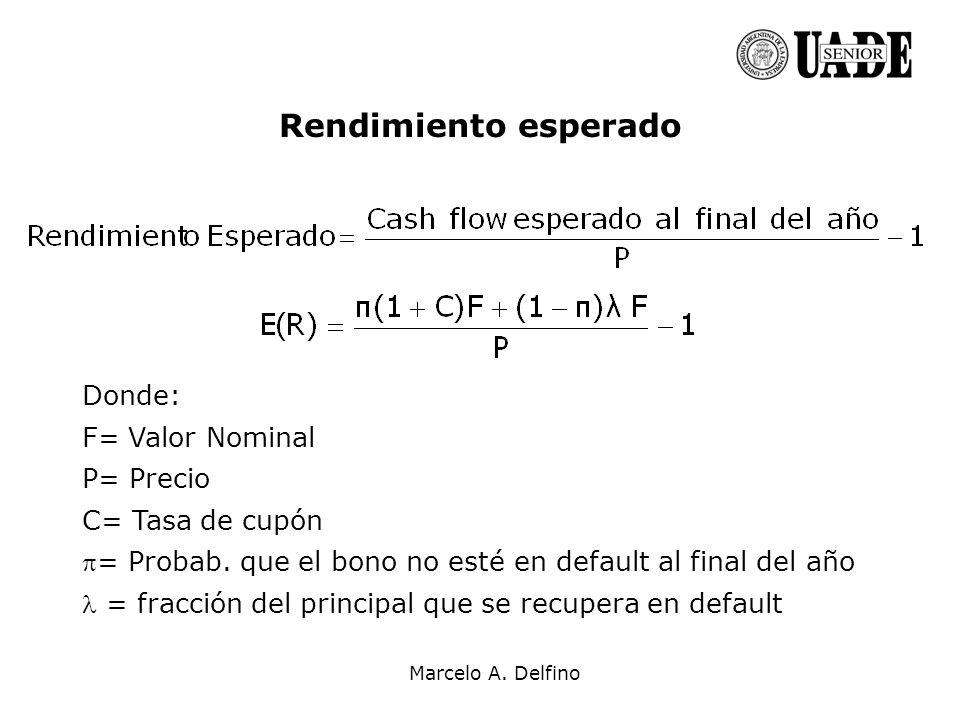 Rendimiento esperado Donde: F= Valor Nominal P= Precio