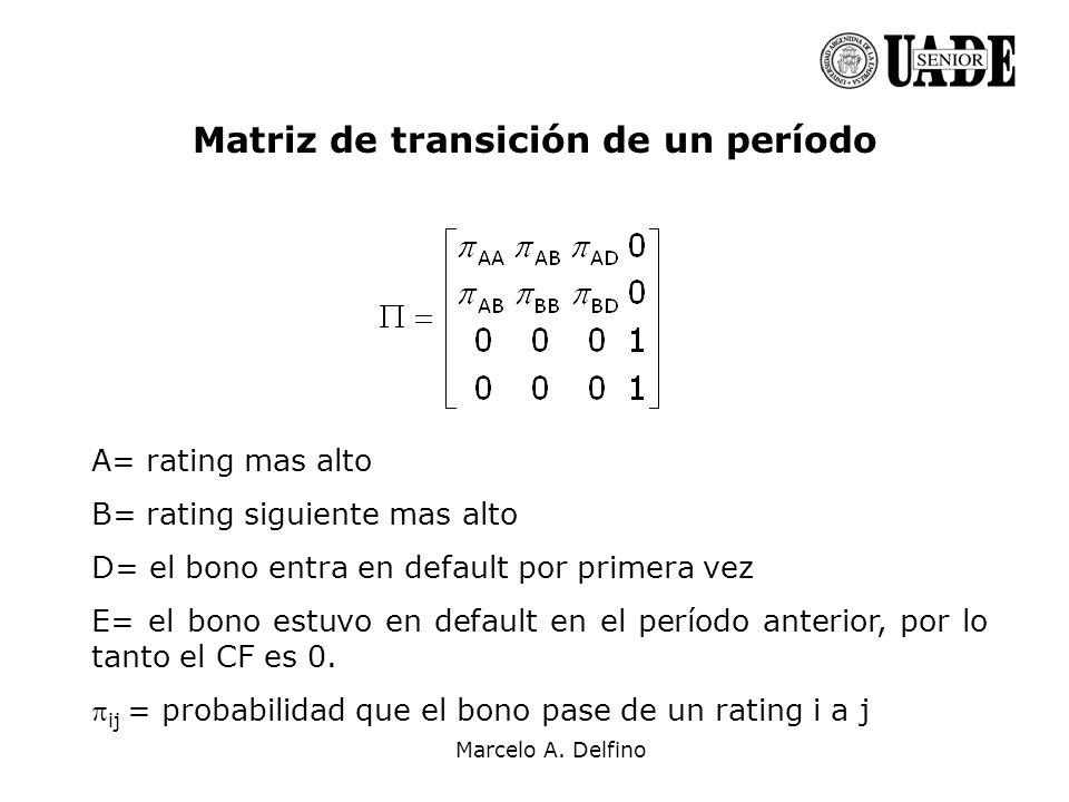 Matriz de transición de un período