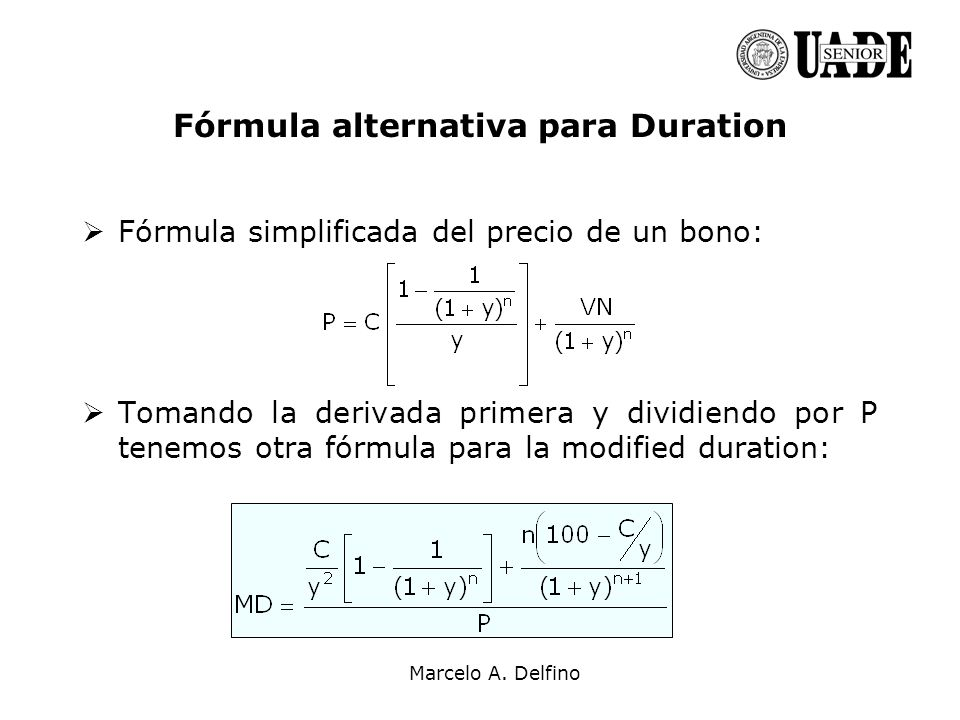 Fórmula alternativa para Duration