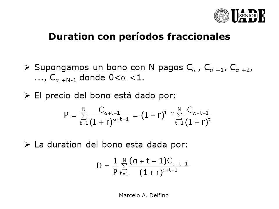 Duration con períodos fraccionales