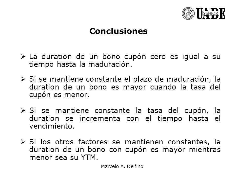 Conclusiones La duration de un bono cupón cero es igual a su tiempo hasta la maduración.