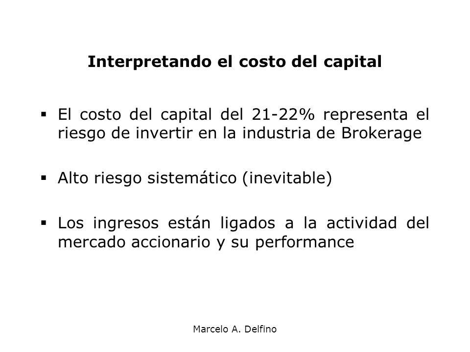 Interpretando el costo del capital