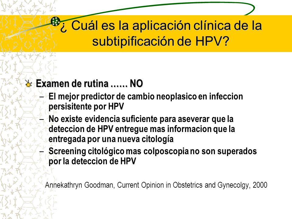 ¿ Cuál es la aplicación clínica de la subtipificación de HPV