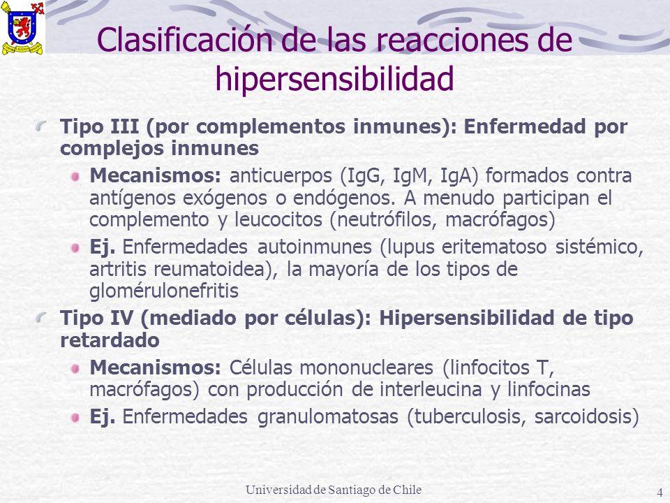 Clasificación de las reacciones de hipersensibilidad