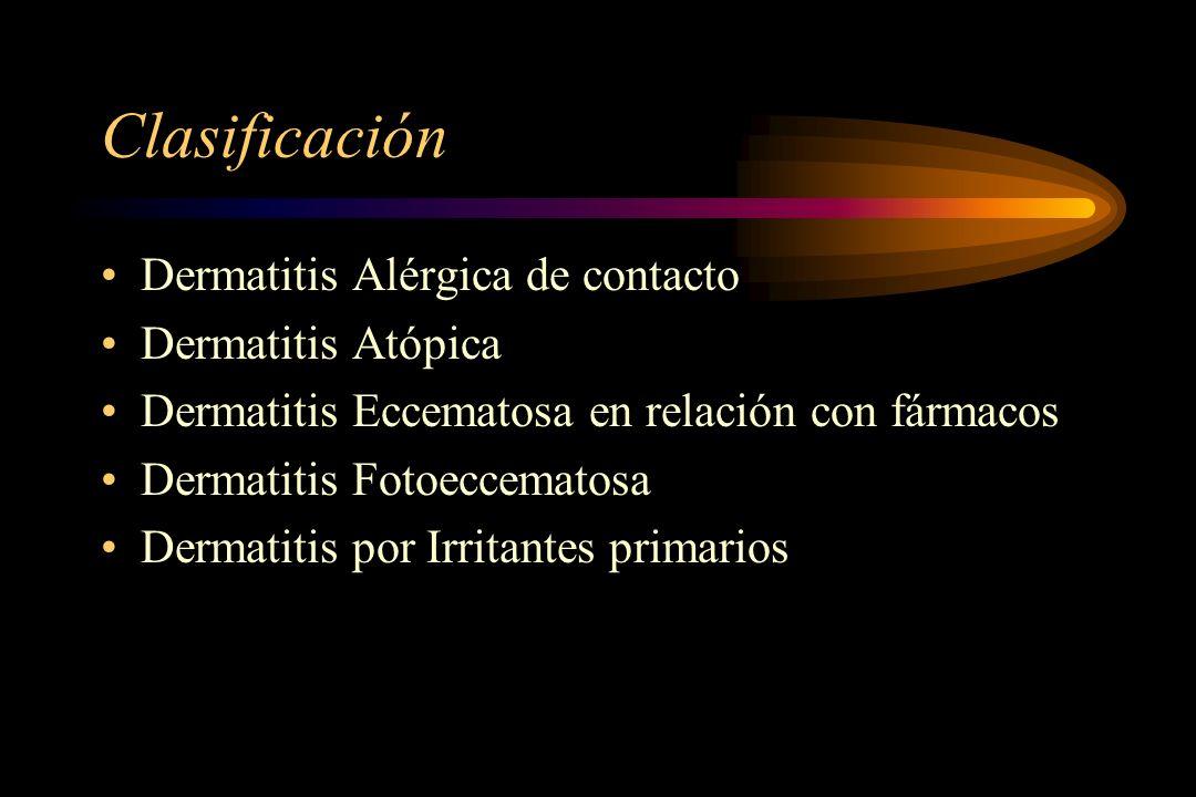 Clasificación Dermatitis Alérgica de contacto Dermatitis Atópica