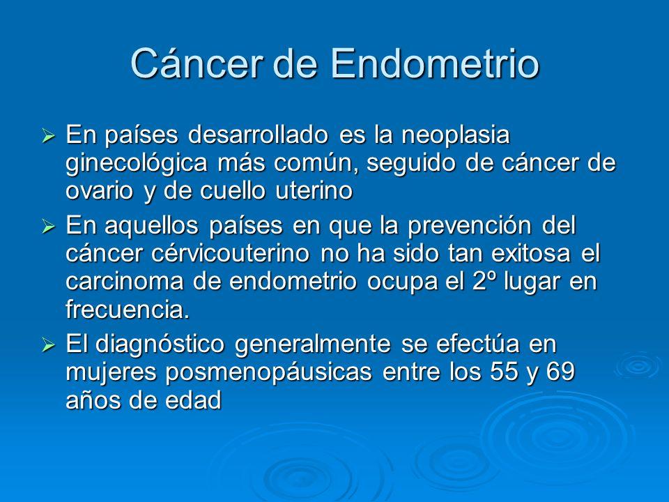 Cáncer de Endometrio En países desarrollado es la neoplasia ginecológica más común, seguido de cáncer de ovario y de cuello uterino.