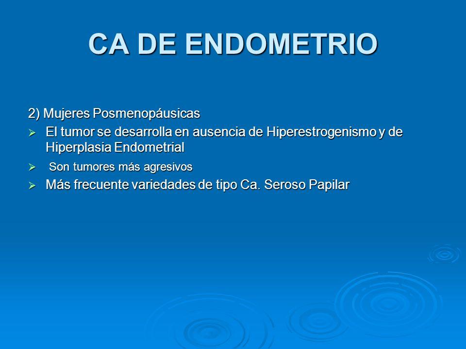 CA DE ENDOMETRIO 2) Mujeres Posmenopáusicas