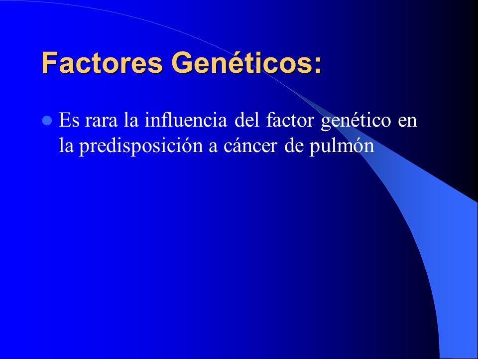 Factores Genéticos:Es rara la influencia del factor genético en la predisposición a cáncer de pulmón.