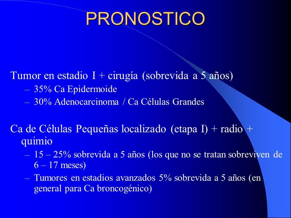 PRONOSTICO Tumor en estadio I + cirugía (sobrevida a 5 años)