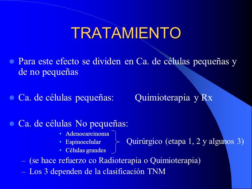 TRATAMIENTOPara este efecto se dividen en Ca. de células pequeñas y de no pequeñas. Ca. de células pequeñas: Quimioterapia y Rx.