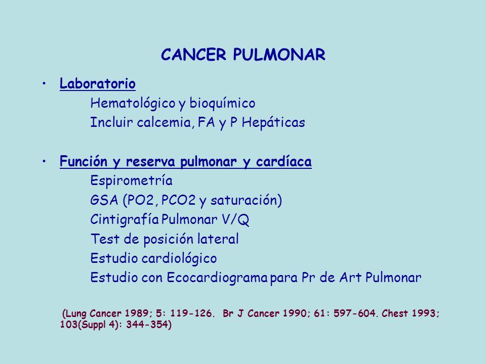 CANCER PULMONAR Laboratorio Hematológico y bioquímico