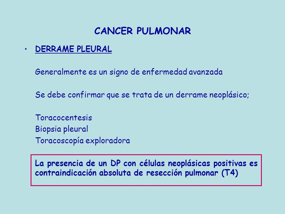 CANCER PULMONAR DERRAME PLEURAL