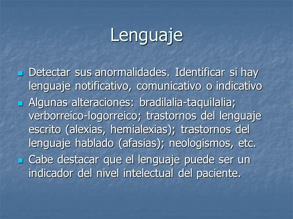Lenguaje Detectar sus anormalidades. Identificar si hay lenguaje notificativo, comunicativo o indicativo.