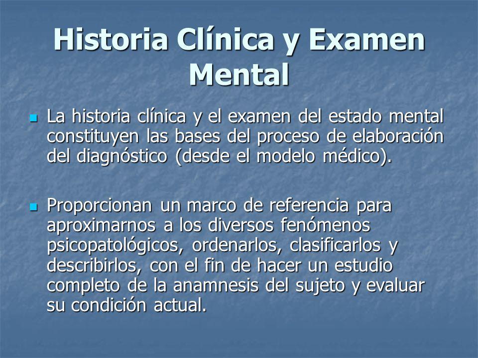 Historia Clínica y Examen Mental