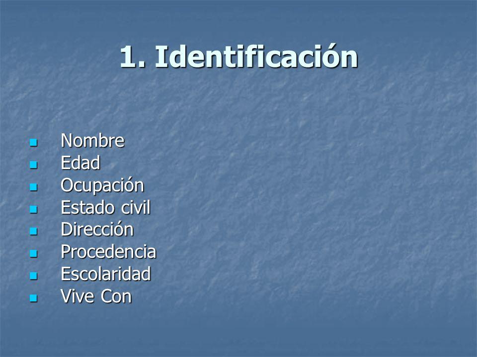 1. Identificación Nombre Edad Ocupación Estado civil Dirección