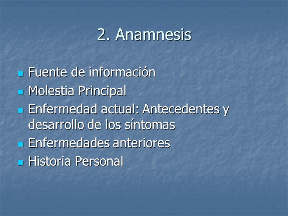 2. Anamnesis Fuente de información Molestia Principal
