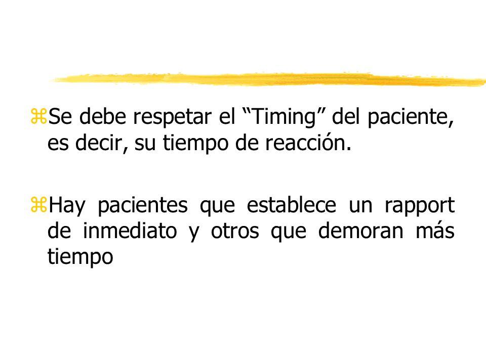Se debe respetar el Timing del paciente, es decir, su tiempo de reacción.