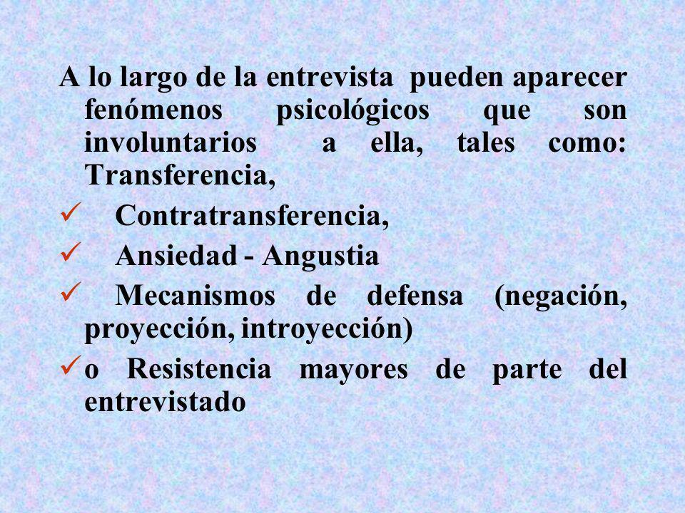 A lo largo de la entrevista pueden aparecer fenómenos psicológicos que son involuntarios a ella, tales como: Transferencia,