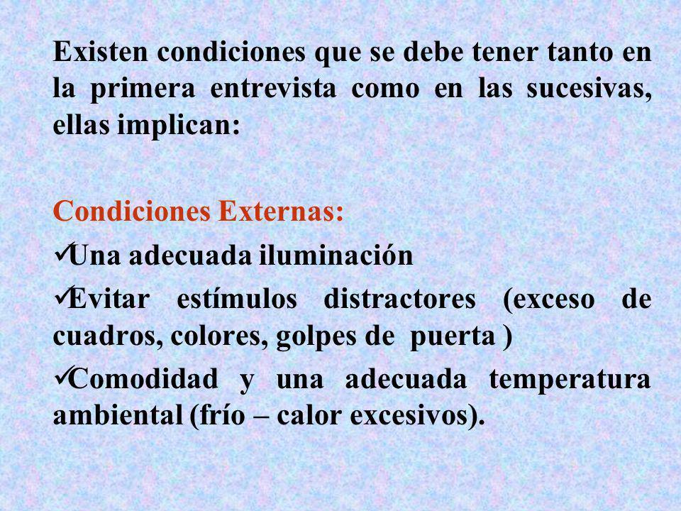 Existen condiciones que se debe tener tanto en la primera entrevista como en las sucesivas, ellas implican: