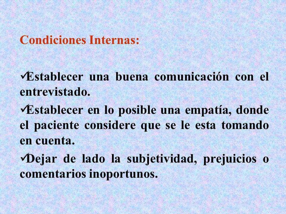 Condiciones Internas: