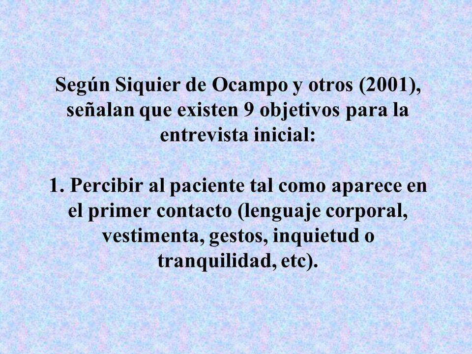 Según Siquier de Ocampo y otros (2001), señalan que existen 9 objetivos para la entrevista inicial: 1.