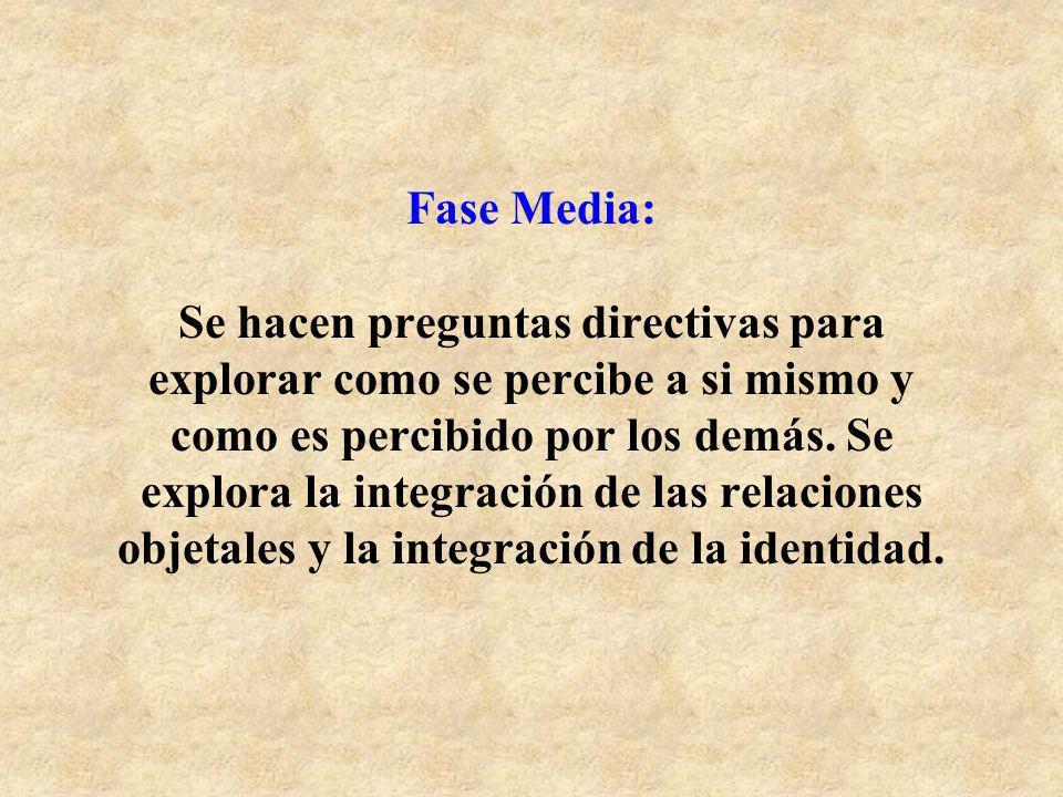 Fase Media: Se hacen preguntas directivas para explorar como se percibe a si mismo y como es percibido por los demás.
