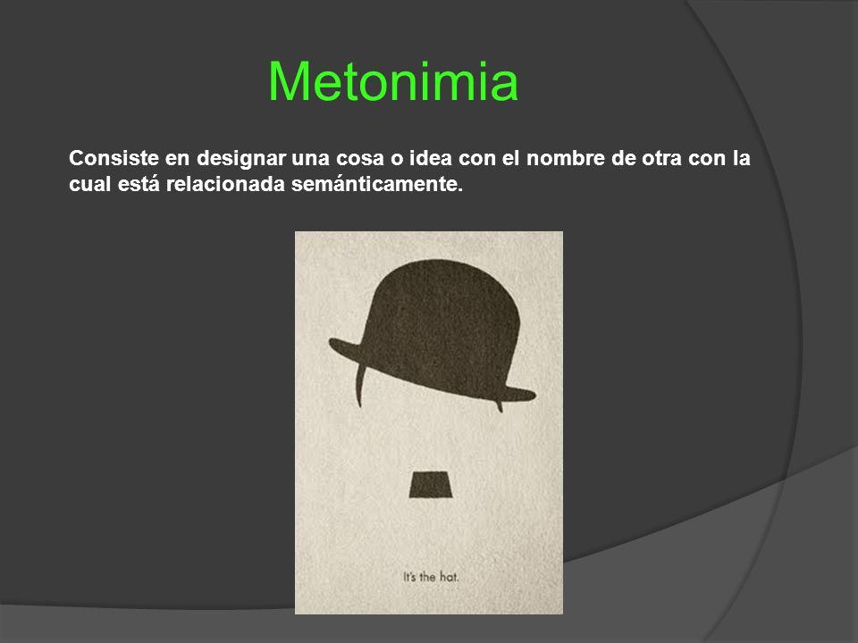 Metonimia Consiste en designar una cosa o idea con el nombre de otra con la cual está relacionada semánticamente.