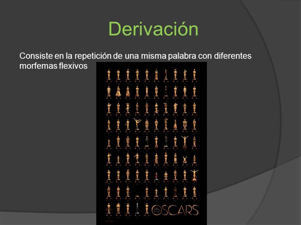 Derivación Consiste en la repetición de una misma palabra con diferentes morfemas flexivos