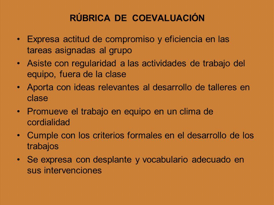 RÚBRICA DE COEVALUACIÓN