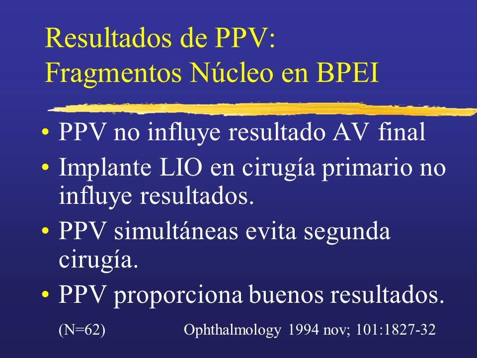 Resultados de PPV: Fragmentos Núcleo en BPEI