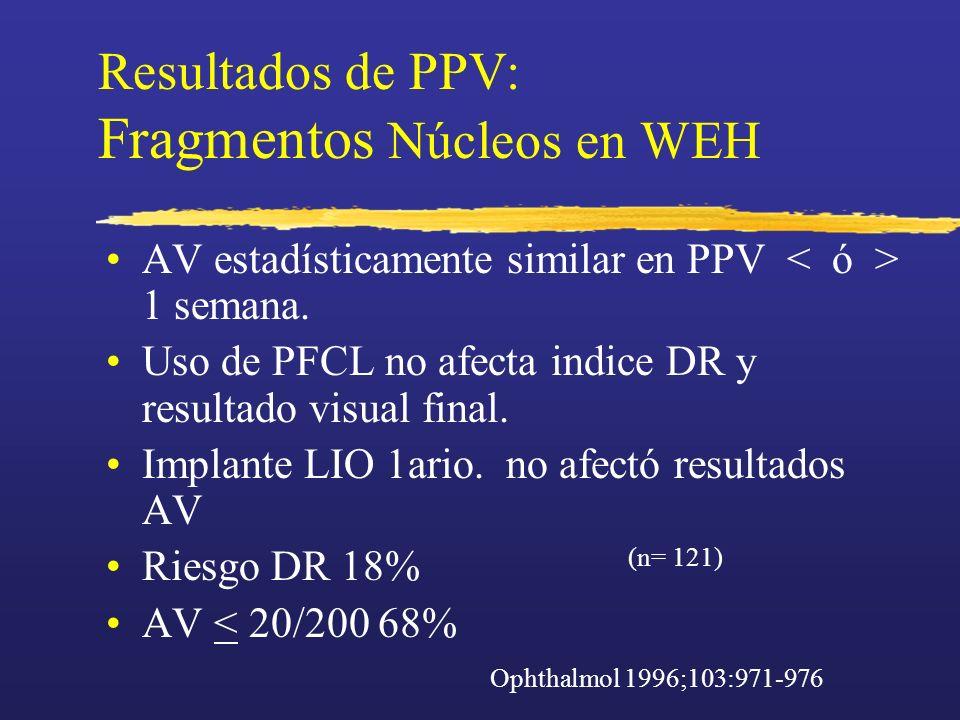 Resultados de PPV: Fragmentos Núcleos en WEH