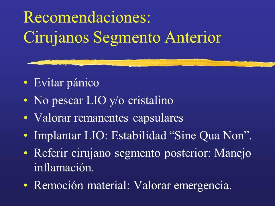 Recomendaciones: Cirujanos Segmento Anterior