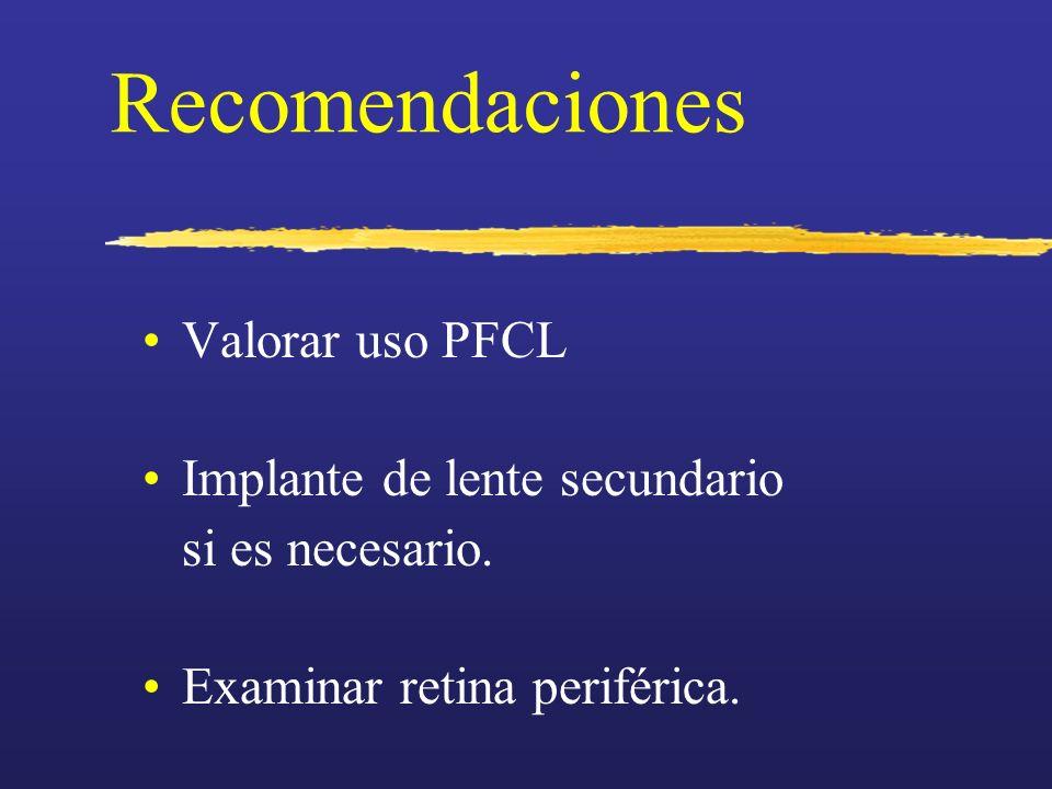Recomendaciones Valorar uso PFCL Implante de lente secundario