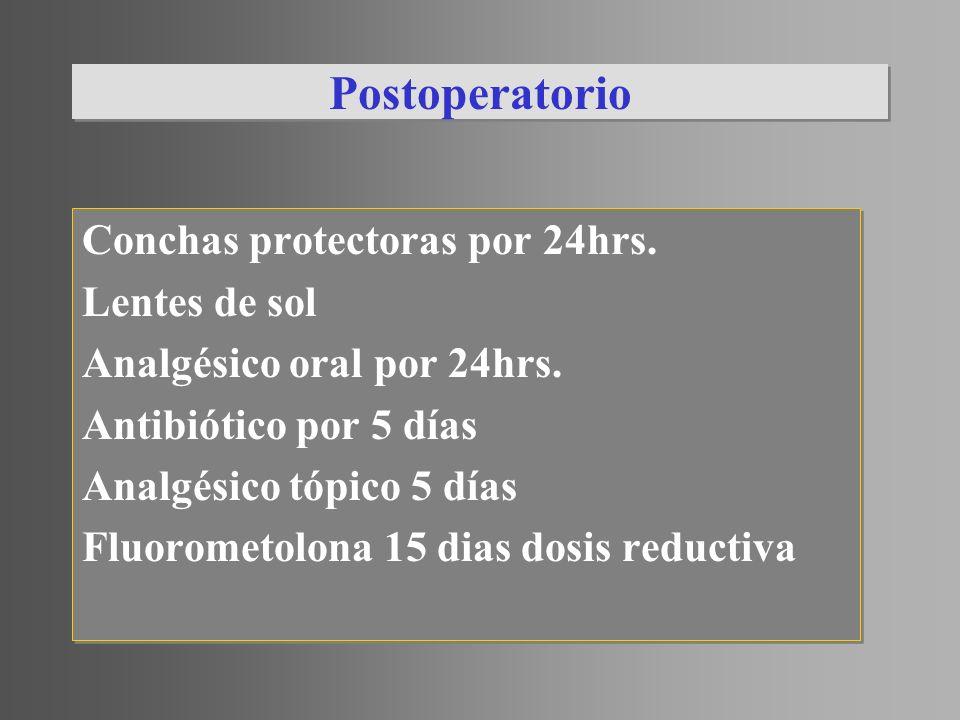 Postoperatorio Conchas protectoras por 24hrs. Lentes de sol