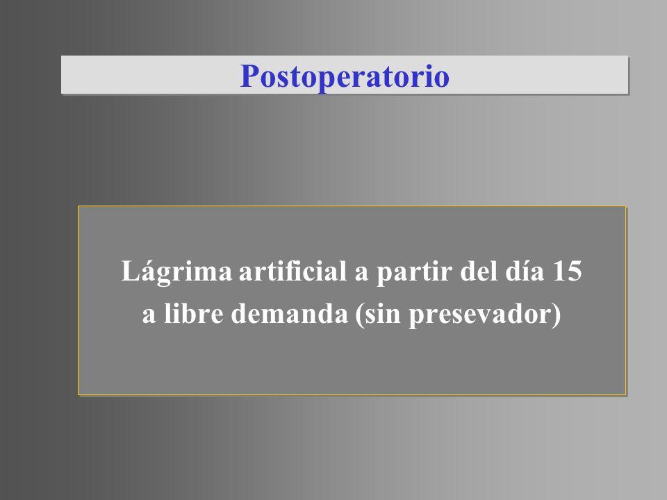 Postoperatorio Lágrima artificial a partir del día 15